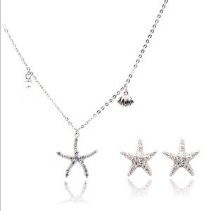 Silver starfish shell pearl necklace earrings